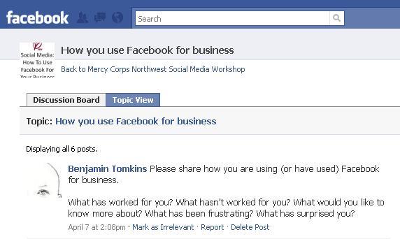 Facebook Group Page Screenshot